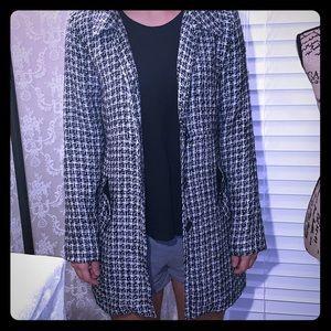 Black and white long dress coat